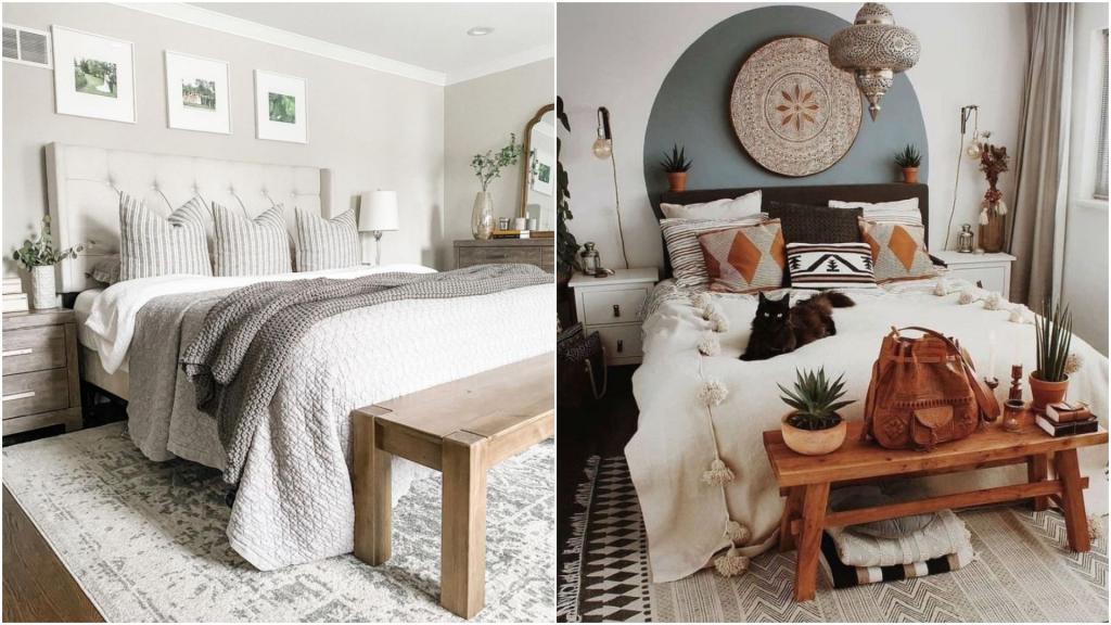 Серые тона, большой ковер, корзины и не только: какие элементы придают спальне уют