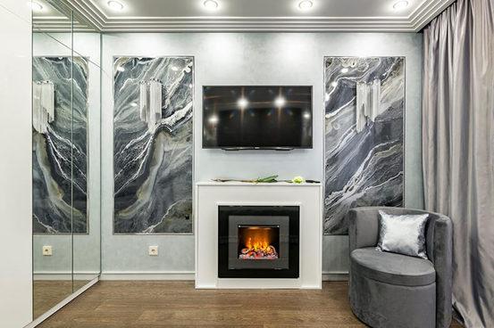 Камин винтерьере квартиры