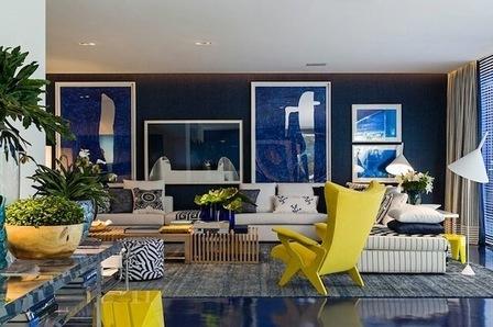 Благородный синий в интерьере — роскошный и интригующий