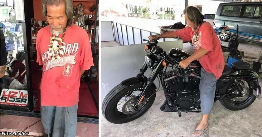 Продавец Harley Davidson игнорировал старика в грязной одежде. Но потом тот достал наличные!..